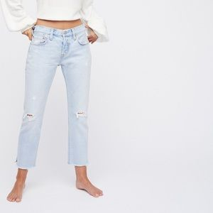 Levi's 501T cropped taper, light wash jeans